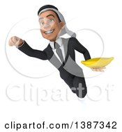 Clipart Of A 3d Young Arabian Business Man Holding A Banana On A White Background Royalty Free Vector Illustration