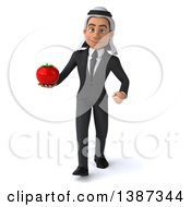 Clipart Of A 3d Young Arabian Business Man Holding A Tomato On A White Background Royalty Free Vector Illustration