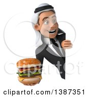Clipart Of A 3d Young Arabian Business Man Holding A Double Cheeseburger On A White Background Royalty Free Vector Illustration