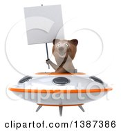Clipart Of A 3d Brown Bear Flying A Ufo On A White Background Royalty Free Vector Illustration