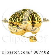 Clipart Of A 3d Gold Brain Meditating On A White Background Royalty Free Illustration