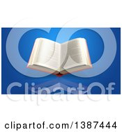 Clipart Of A 3d Open Book On A Blue Background Royalty Free Illustration by Julos