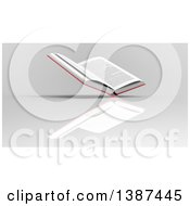 Clipart Of A 3d Open Book On A Gray Background Royalty Free Illustration