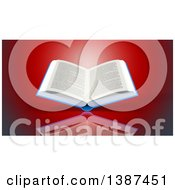 Clipart Of A 3d Open Book On Red Royalty Free Illustration