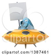 Clipart Of A 3d Blue Bird Flying A Ufo On A White Background Royalty Free Vector Illustration