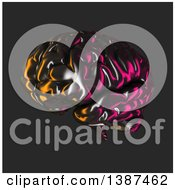Clipart Of A 3d Metallic Brain Reflecting Lights On A Dark Background Royalty Free Illustration