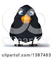 3d Black Bird On A White Background