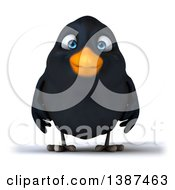 Clipart Of A 3d Black Bird On A White Background Royalty Free Vector Illustration