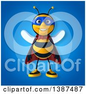Clipart Of A 3d Super Honey Bee On A Blue Background Royalty Free Vector Illustration by Julos