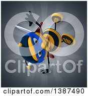 Clipart Of A 3d Super Honey Bee On A Gray Background Royalty Free Vector Illustration by Julos