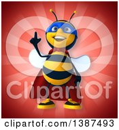 Clipart Of A 3d Super Honey Bee On A Red Background Royalty Free Vector Illustration by Julos
