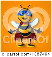 Clipart Of A 3d Super Honey Bee On A Yellow And Orange Background Royalty Free Vector Illustration by Julos