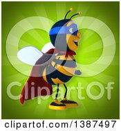 Clipart Of A 3d Super Honey Bee On A Green Background Royalty Free Vector Illustration by Julos