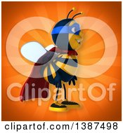 Clipart Of A 3d Super Honey Bee On An Orange Background Royalty Free Vector Illustration by Julos