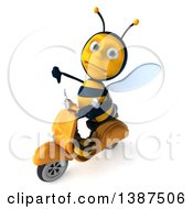 Clipart Of A 3d Male Bee Riding A Scooter On A White Background Royalty Free Illustration