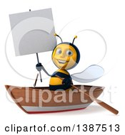 Clipart Of A 3d Male Bee In A Row Boat On A White Background Royalty Free Illustration