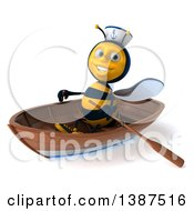 Clipart Of A 3d Male Sailor Bee In A Row Boat On A White Background Royalty Free Illustration