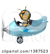 Clipart Of A 3d Male Bee Flying An Airplane On A White Background Royalty Free Illustration