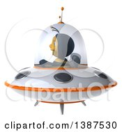 Clipart Of A 3d Male Bee Flying A Ufo On A White Background Royalty Free Illustration