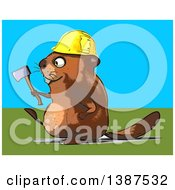 Clipart Of A Cartoon Construction Beaver Holding An Axe On A Blue And Green Background Royalty Free Vector Illustration