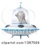 Clipart Of A 3d Polar Bear Flying A Ufo On A White Background Royalty Free Vector Illustration