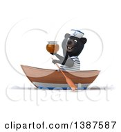 Clipart Of A 3d Black Bear Sailor Rowing A Boat On A White Background Royalty Free Illustration