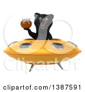 Clipart Of A 3d Black Bear Flying A Ufo On A White Background Royalty Free Vector Illustration
