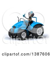 Poster, Art Print Of 3d Alien Giving A Thumb Up And Operating A Tractor On A White Background