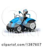 Poster, Art Print Of 3d Alien Giving A Thumb Down And Operating A Tractor On A White Background