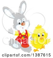 Clipart Of A Cute Easter Bunny Rabbit And Chick Royalty Free Vector Illustration by Alex Bannykh