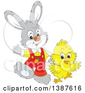 Cartoon Cute Easter Bunny Rabbit And Chick