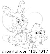 Black And White Lineart Cute Easter Bunny Rabbit And Chick