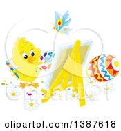 Clipart Of A Cute Chick Painting Easter Eggs On Canvas Royalty Free Vector Illustration