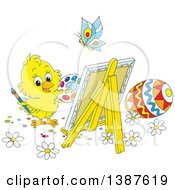 Clipart Of A Cartoon Cute Chick Painting Easter Eggs On Canvas Royalty Free Vector Illustration