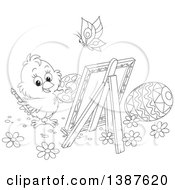 Clipart Of A Black And White Lineart Cute Chick Painting Easter Eggs On Canvas Royalty Free Vector Illustration