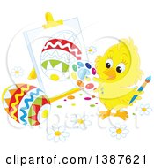 Clipart Of A Cute Yellow Chick Painting Easter Eggs On Canvas Royalty Free Vector Illustration