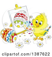 Clipart Of A Cartoon Cute Yellow Chick Painting Easter Eggs On Canvas Royalty Free Vector Illustration