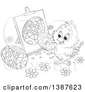 Poster, Art Print Of Black And White Lineart Cute Chick Painting Easter Eggs On Canvas