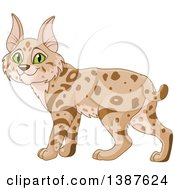Clipart Of A Cute Bobcat With Green Eyes Royalty Free Vector Illustration by Pushkin
