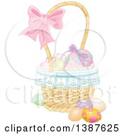 Clipart Of A Basket Of Easter Eggs With A Bow On The Handle Royalty Free Vector Illustration