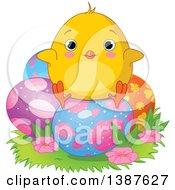 Poster, Art Print Of Yellow Chick Sitting On Patterned Easter Eggs