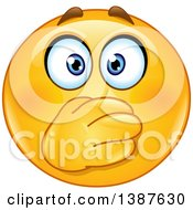 Clipart Of A Cartoon Yellow Smiley Face Emoji Emoticon Covering His Mouth Royalty Free Vector Illustration