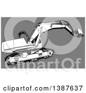 Clipart Of A Black And White Earth Mover Tractor On Gray Royalty Free Vector Illustration