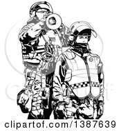 Clipart Of Black And White Riot Police Officers In Protective Gear One Using A Megaphone Royalty Free Vector Illustration