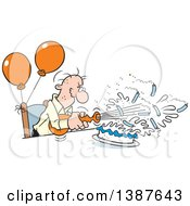 Clipart Of A Cartoon Bald Senior White Man Blowing Out His Birthday Cake Candles Where Theres A Will Theres A Way Royalty Free Vector Illustration by Johnny Sajem