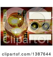 3d Air Guitar And Gold Disco Ball Over Music Speakers Waves Flares And Tags