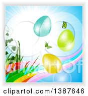 Clipart Of A Sunny Blue Sky With Butterflies A Transparent Rainbow Wave Plants And 3d Easter Eggs Royalty Free Vector Illustration