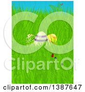 Clipart Of 3d Striped Easter Eggs Flowers And Butterflies In Spring Grass Royalty Free Vector Illustration