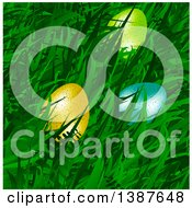 Clipart Of 3d Easter Eggs In Spring Grass Royalty Free Vector Illustration
