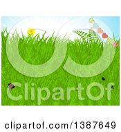 Clipart Of A Background Of Spring Grass Sunny Blue Sky Flowers And A Heart Bunting Banner Royalty Free Vector Illustration